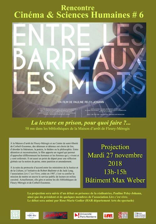 Projection/débat – Entre les barreaux, les mots, 27 novembre, 13-15h, Bât. M. Weber, Nanterre