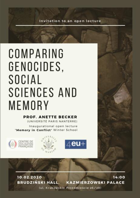 Conférence d'Anette Becker à Varsovie / Comparing genocides, social sciences and memory, 10 février 2020