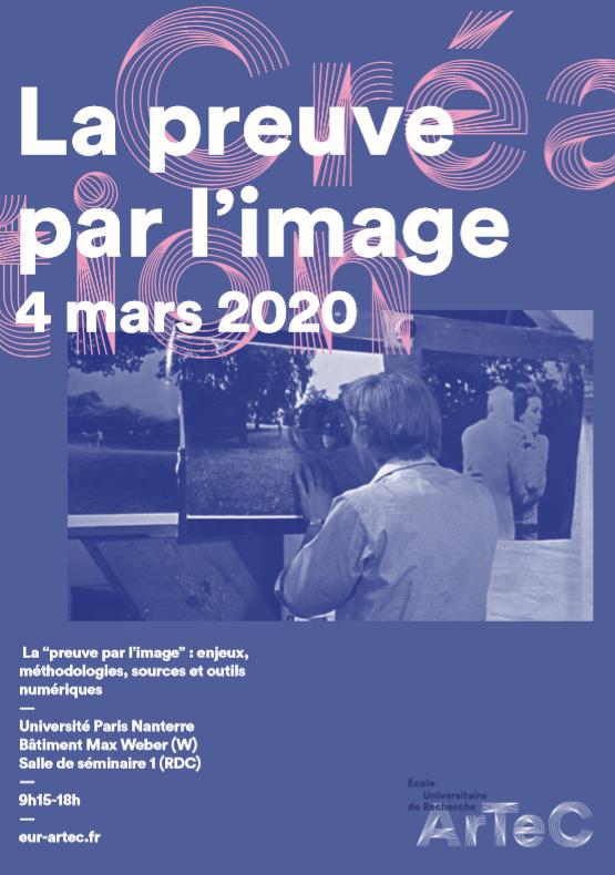 """Journée d'étude / La """"preuve par l'image"""", 4 mars 2020, Université Paris Nanterre"""